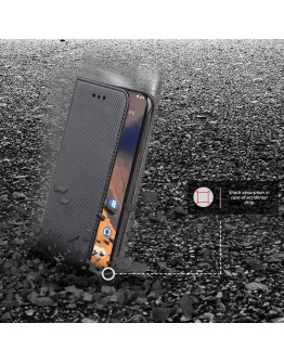 Moozy Case Flip Cover for Nokia 2.3, Black - Smart Magnetic Flip Case with Card Holder and Stand