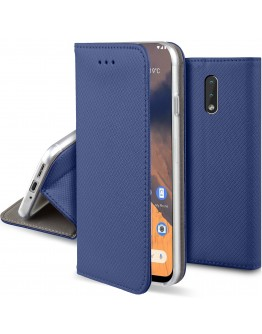 Moozy Case Flip Cover for Nokia 2.3, Dark Blue - Smart Magnetic Flip Case with Card Holder and Stand