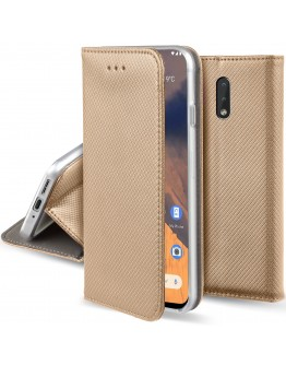 Moozy Case Flip Cover for Nokia 2.3, Gold - Smart Magnetic Flip Case with Card Holder and Stand