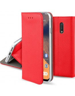 Moozy Case Flip Cover for Nokia 2.3, Red - Smart Magnetic Flip Case with Card Holder and Stand