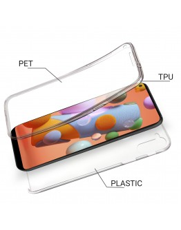 Moozy 360 Degree Case for Samsung A11 - Transparent Full body Slim Cover - Hard PC Back and Soft TPU Silicone Front