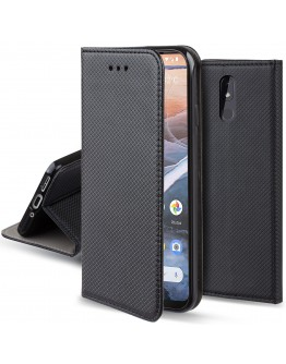 Moozy Case Flip Cover for Nokia 3.2, Black - Smart Magnetic Flip Case with Card Holder and Stand