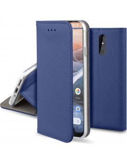 Moozy Case Flip Cover for Nokia 3.2, Dark Blue - Smart Magnetic Flip Case with Card Holder and Stand