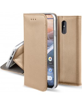 Moozy Case Flip Cover for Nokia 3.2, Gold - Smart Magnetic Flip Case with Card Holder and Stand