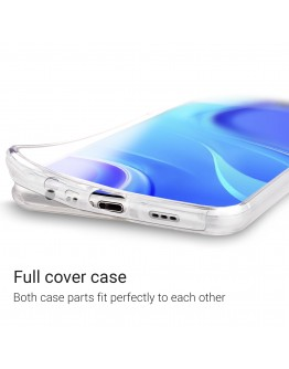 Moozy 360 Degree Case for Xiaomi Redmi 9 - Transparent Full body Slim Cover - Hard PC Back and Soft TPU Silicone Front