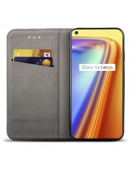Moozy Case Flip Cover for Realme 7 Pro, Black - Smart Magnetic Flip Case with Card Holder and Stand