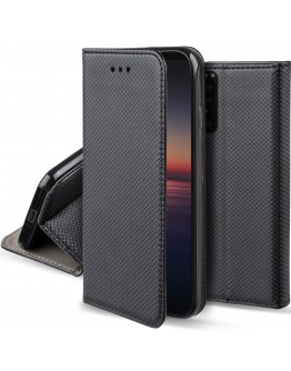 Moozy Case Flip Cover for Sony Xperia 1 II, Black - Smart Magnetic Flip Case with Card Holder and Stand