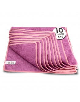 VILSTO Microfibre Cloth, Reusable Lint Free Cloth, Easy Clean Cloth, Window Cleaning Car Cleaning Car Interior Cleaner Easy Clean Cloth, Microfibre Towel Cleaning Supplies, 30x30 cm, 10 Pieces, Purple