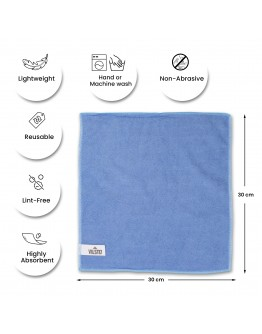 VILSTO Microfibre Cloth, Reusable Lint Free Cloth, Easy Clean Cloth, Window Cleaning Car Cleaning, Car Interior Cleaner, Easy Clean Cloth Microfibre Towel, Cleaning Supplies, 30x30 cm, 10 Pieces, Blue