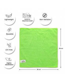 VILSTO Microfibre Cloth, Reusable Lint Free Cloth, Easy Clean Cloth, Window Cleaning Car Cleaning Car Interior Cleaner, Easy Clean Cloth Microfibre Towel, Cleaning Supplies, 30x30 cm, 10 Pieces, Green