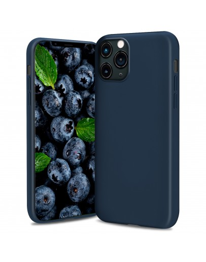 Moozy Lifestyle. Silicone Case for iPhone 13 Pro Max, Midnight Blue - Liquid Silicone Lightweight Cover with Matte Finish and Soft Microfiber Lining, Premium Silicone Case