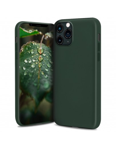 Moozy Lifestyle. Silicone Case for iPhone 13 Pro Max, Dark Green - Liquid Silicone Lightweight Cover with Matte Finish and Soft Microfiber Lining, Premium Silicone Case