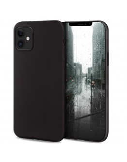 Moozy Minimalist Series Silicone Case for iPhone 12 mini, Black - Matte Finish Slim Soft TPU Cover
