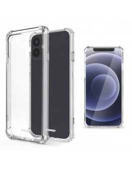 Moozy Shock Proof Silicone Case for iPhone 12 mini - Transparent Crystal Clear Phone Case Soft TPU Cover
