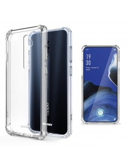 Moozy Shock Proof Silicone Case for Oppo Reno 2 - Transparent Crystal Clear Phone Case Soft TPU Cover