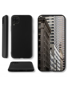 Moozy Lifestyle. Designed for Huawei P40 Lite Case, Black - Liquid Silicone Cover with Matte Finish and Soft Microfiber Lining