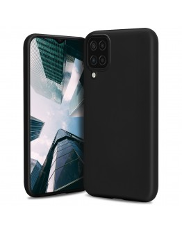 Moozy Lifestyle. Designed for Samsung A12 Case, Black - Liquid Silicone Lightweight Cover with Matte Finish and Soft Microfiber Lining, Premium Silicone Case