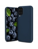 Moozy Lifestyle. Designed for Samsung A12 Case, Midnight Blue - Liquid Silicone Lightweight Cover with Matte Finish and Soft Microfiber Lining, Premium Silicone Case