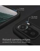 Moozy Lifestyle. Designed for Xiaomi Redmi Note 10, Redmi Note 10S Case, Black - Liquid Silicone Lightweight Cover with Matte Finish and Soft Microfiber Lining, Premium Silicone Case