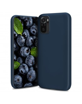 Moozy Lifestyle. Designed for Xiaomi Redmi Note 10, Redmi Note 10S Case, Midnight Blue - Liquid Silicone Lightweight Cover with Matte Finish and Soft Microfiber Lining, Premium Silicone Case