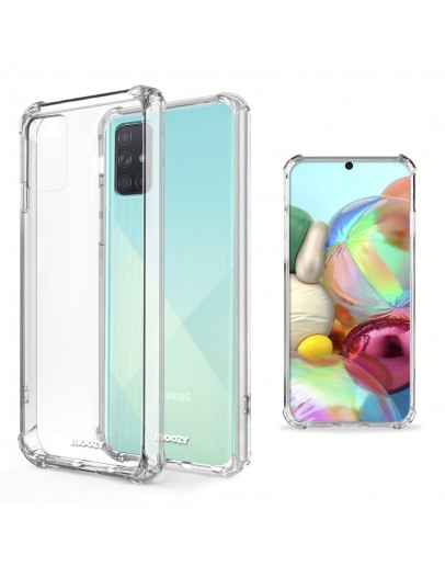 Moozy Shock Proof Silicone Case for Samsung A71 - Transparent Crystal Clear Phone Case Soft TPU Cover