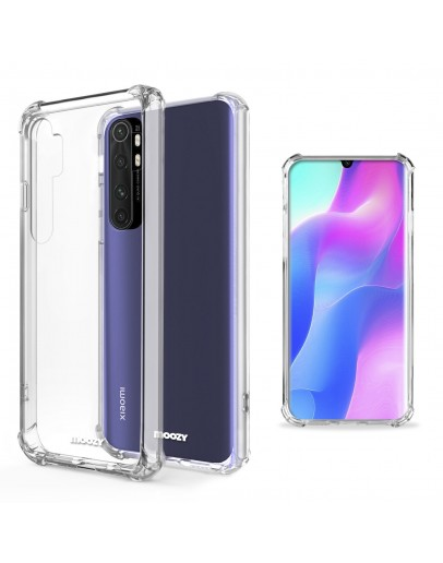 Moozy Shock Proof Silicone Case for Xiaomi Mi Note 10 Lite - Transparent Crystal Clear Phone Case Soft TPU Cover
