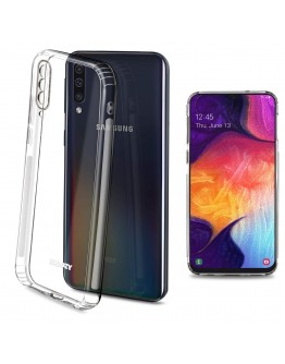 Moozy Frosted Edition Clear Silicone Case for Samsung A50 - Non-slip Touch Lightweight Transparent Soft TPU Cover