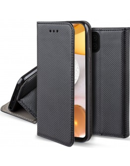 Moozy Case Flip Cover for Samsung A42 5G, Black - Smart Magnetic Flip Case with Card Holder and Stand