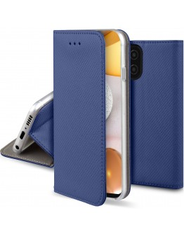 Moozy Case Flip Cover for Samsung A42 5G, Dark Blue - Smart Magnetic Flip Case with Card Holder and Stand