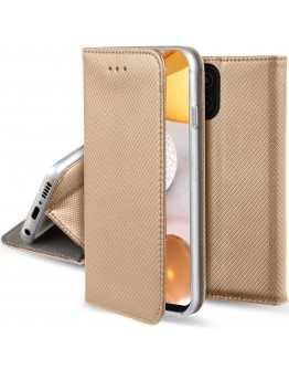 Moozy Case Flip Cover for Samsung A42 5G, Gold - Smart Magnetic Flip Case with Card Holder and Stand