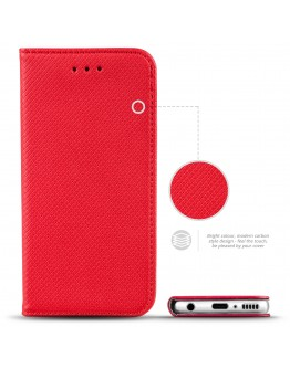 Moozy Case Flip Cover for Samsung A42 5G, Red - Smart Magnetic Flip Case with Card Holder and Stand