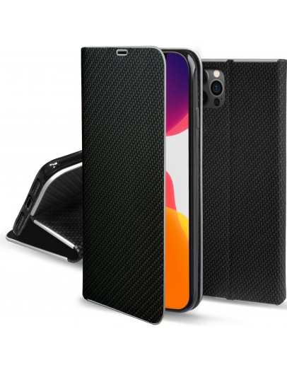 Moozy Wallet Case for iPhone 12, iPhone 12 Pro, Black Carbon – Metallic Edge Protection Magnetic Closure Flip Cover with Card Holder