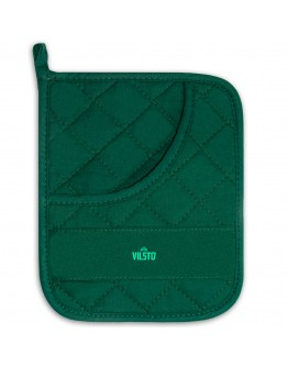 VILSTO Cotton Pot Holder, Long Oven Mitt, Heat Resistant Placemat for Pot Pan Bowl Cup, Protective Trivet for Cooking and Baking, BBQ Glove, Green