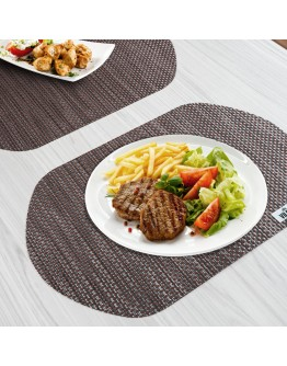 VILSTO Dining Table Place Mats, Table Cloth Wipeable, PVC Table Protector Heat Resistant, Plastic Tablecloth, Dinner Set Table Mats Worktop Saver, Round Placemats Set of 4, Brown