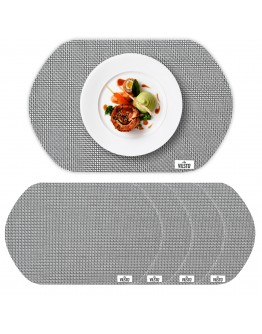 VILSTO Dining Table Place Mats, Table Cloth Wipeable, PVC Table Protector Heat Resistant, Plastic Tablecloth, Dinner Set Table Mats Worktop Saver, Round Placemats Set of 4, Grey