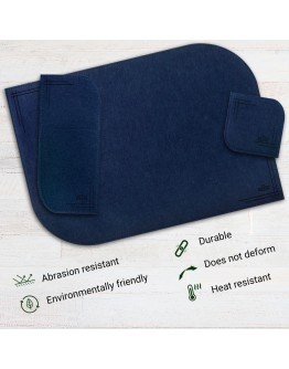 VILSTO Felt Fabric Place Mats, Dining Table Dinner Sets, Placemats and Coasters Set with Cutlery Holder, Anti Slip Mat Table Protector, 18 Piece Set, Kitchen Mat, Dark Blue