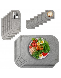 VILSTO Felt Fabric Place Mats, Dining Table Dinner Sets, Placemats and Coasters Set with Cutlery Holder, Anti Slip Mat Table Protector, 18 Piece Set, Kitchen Mat, Light Grey