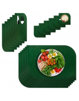 VILSTO Felt Fabric Place Mats, Dining Table Dinner Sets, Placemats and Coasters Set with Cutlery Holder, Anti Slip Mat Table Protector, 18 Piece Set, Kitchen Mat, Dark Green